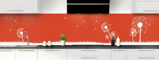 Crédence de cuisine Pissenlit au vent couleur rouge brique panoramique motif inversé