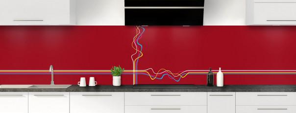 Crédence de cuisine Light painting couleur rouge carmin panoramique