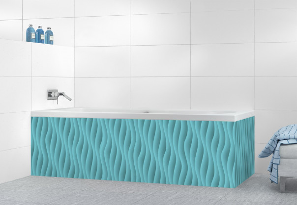 Panneau tablier de bain Ondes couleur bleu lagon