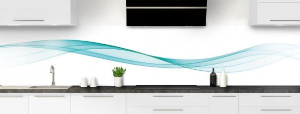 Crédence de cuisine Vague graphique couleur bleu lagon panoramique