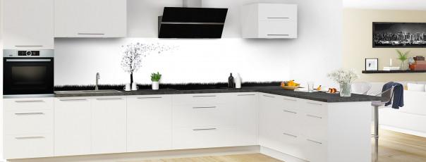 Crédence de cuisine Arbre d'amour couleur gris métal panoramique en perspective