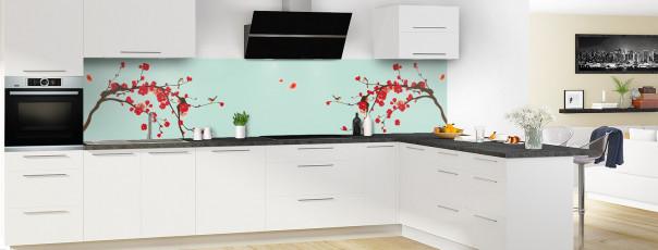 Crédence de cuisine Cerisier japonnais couleur vert pastel panoramique motif inversé en perspective