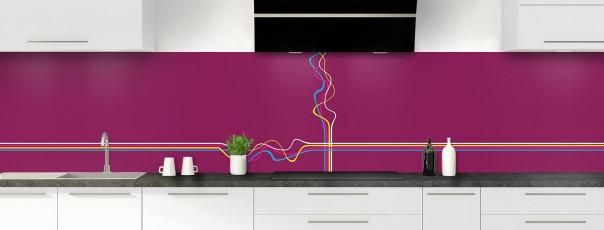 Crédence de cuisine Light painting couleur prune panoramique motif inversé