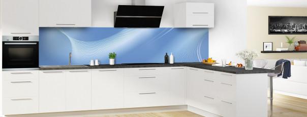 Crédence de cuisine Volute couleur bleu lavande panoramique en perspective