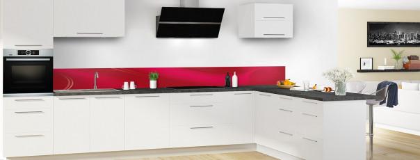 Crédence de cuisine Volute couleur rouge carmin dosseret motif inversé en perspective