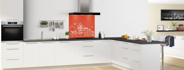 Crédence de cuisine Dessin de ville couleur rouge brique fond de hotte en perspective