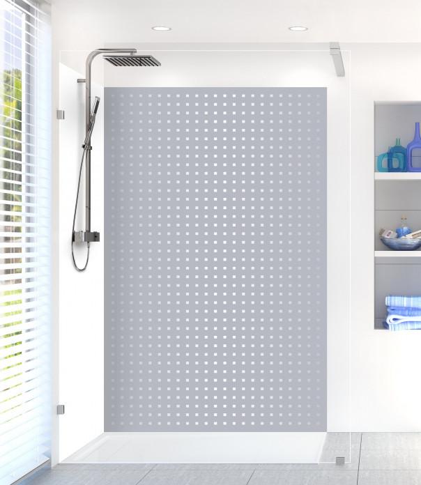 Panneau de douche Petits carrés couleur gris métal