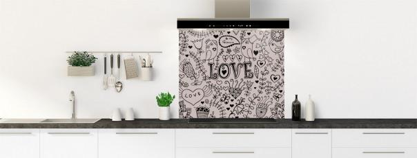 Crédence de cuisine Love illustration couleur argile fond de hotte