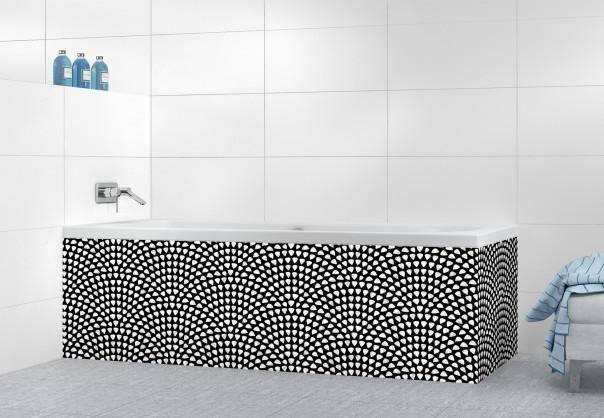 Panneau tablier de bain Mosaïque petits cœurs couleur blanc
