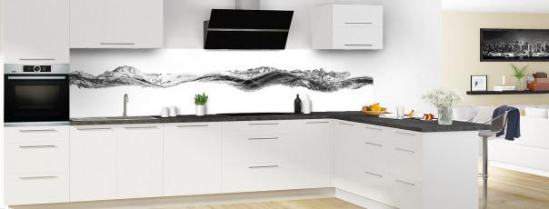 Crédence de cuisine Water Splash Noir panoramique en perspective