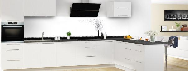 Crédence de cuisine Arbre d'amour couleur gris métal panoramique motif inversé en perspective