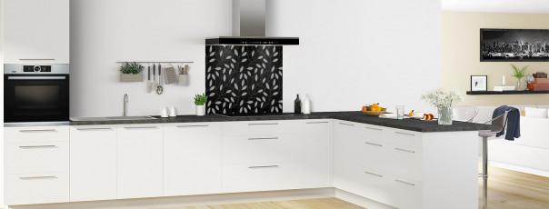 Crédence de cuisine Rideau de feuilles couleur noir fond de hotte en perspective