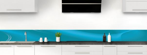 Crédence de cuisine Volute couleur bleu canard dosseret motif inversé