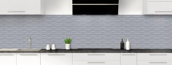 Crédence de cuisine Motif vagues couleur gris métal panoramique