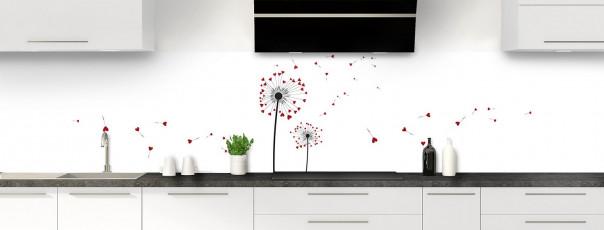 Crédence de cuisine Envol d'amour couleur rouge carmin panoramique motif inversé