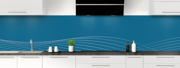 Crédence de cuisine Courbes couleur bleu baltic panoramique motif inversé