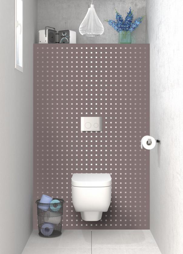 Panneau WC Petits carrés couleur taupe