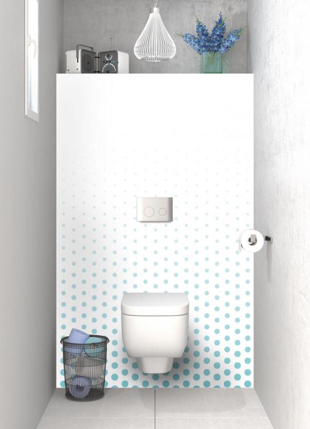 Panneau WC Pluie de points couleur bleu lagon