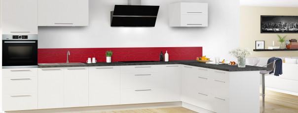 Crédence de cuisine Gribouillis couleur rouge carmin dosseret en perspective