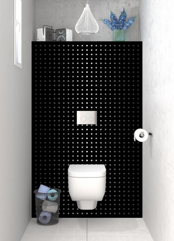Panneau WC Petits carrés couleur noir