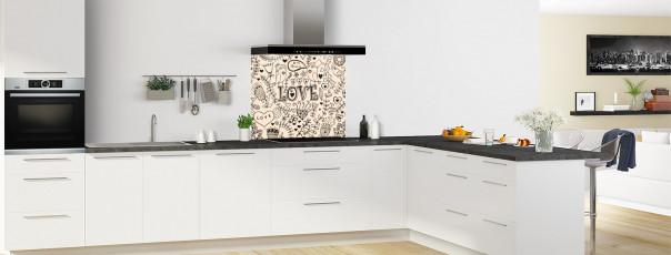 Crédence de cuisine Love illustration couleur sable fond de hotte en perspective