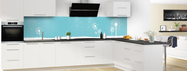 Crédence de cuisine Pissenlit au vent couleur bleu lagon panoramique motif inversé en perspective