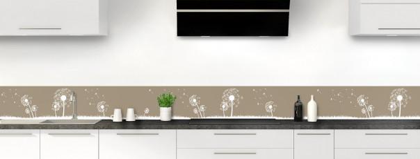 Crédence de cuisine Pissenlit au vent couleur marron glacé dosseret motif inversé