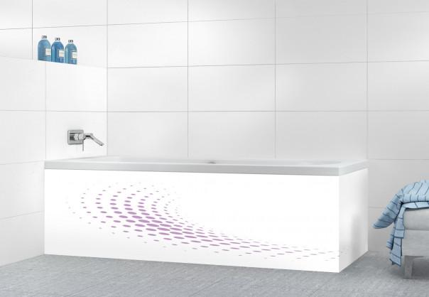 Panneau tablier de bain Nuage de points couleur parme motif inversé