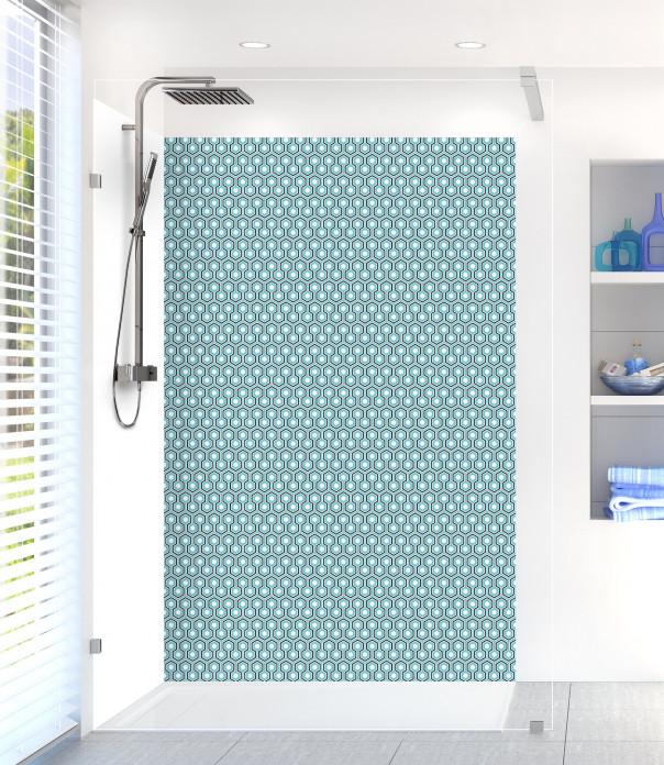 Panneau de douche Hexagones  couleur bleu lagon