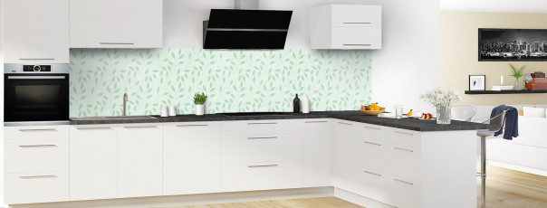 Crédence de cuisine Rideau de feuilles couleur vert eau panoramique en perspective