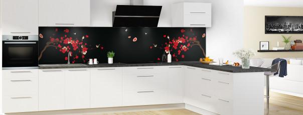 Crédence de cuisine Cerisier japonnais couleur noir panoramique motif inversé en perspective