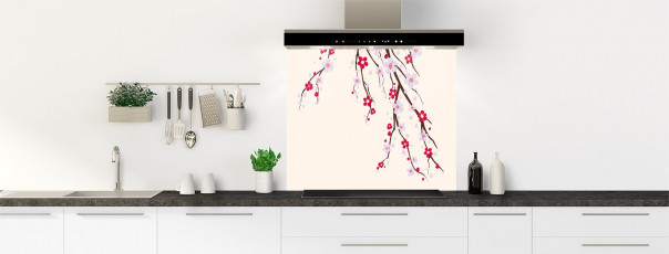 Crédence de cuisine Arbre fleuri couleur magnolia fond de hotte