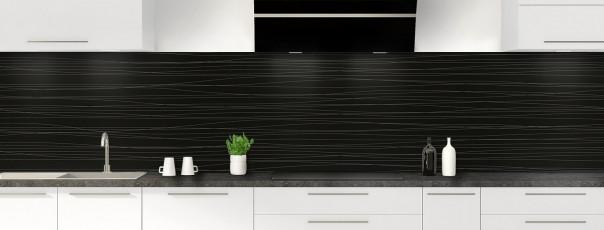 Crédence de cuisine Lignes horizontales couleur noir panoramique