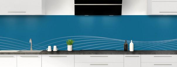 Crédence de cuisine Courbes couleur bleu baltic panoramique