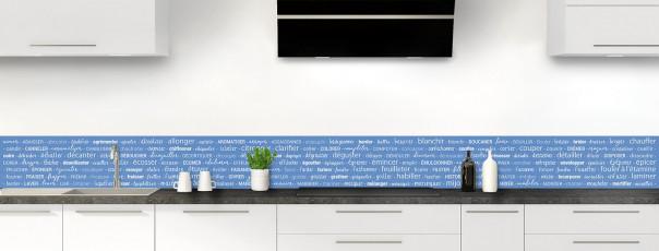 Crédence de cuisine Etapes de recette couleur bleu lavande dosseret