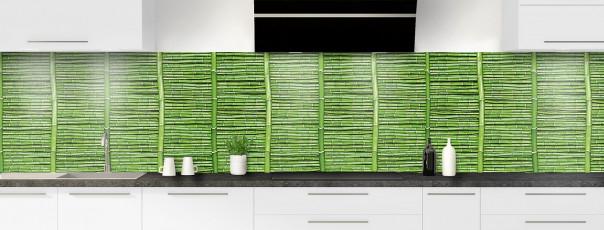 Crédence de cuisine Palissade de bambou vert panoramique