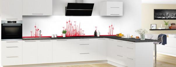 Crédence de cuisine Graminées couleur rouge vif panoramique en perspective
