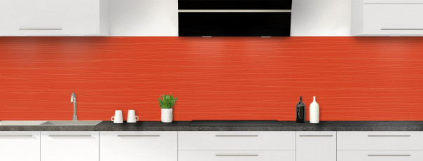 Crédence de cuisine Lignes horizontales couleur rouge brique panoramique