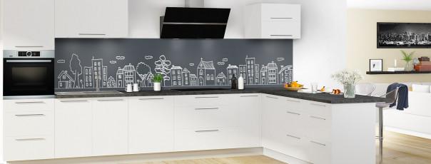 Crédence de cuisine Dessin de ville couleur gris carbone panoramique en perspective