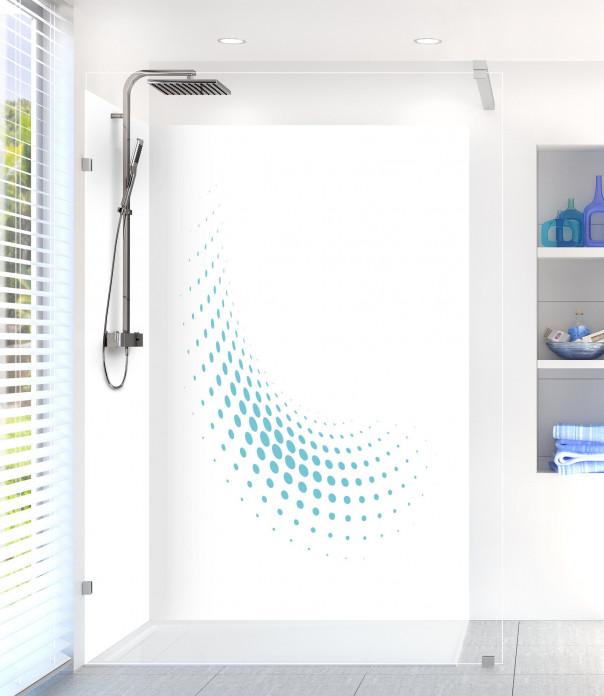 Panneau de douche Nuage de points couleur bleu lagon