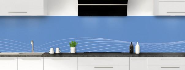 Crédence de cuisine Courbes couleur bleu lavande panoramique