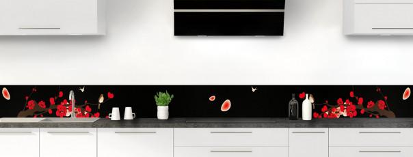 Crédence de cuisine Cerisier japonnais couleur noir dosseret motif inversé