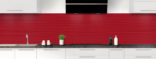 Crédence de cuisine Lignes horizontales couleur rouge carmin panoramique