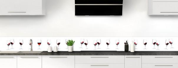 Crédence de cuisine Verres de vin rouge dosseret motif inversé