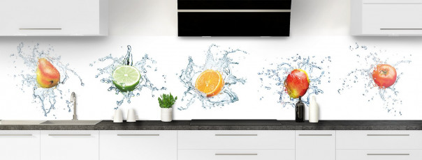 Crédence de cuisine Aqua et mix de fruits panoramique