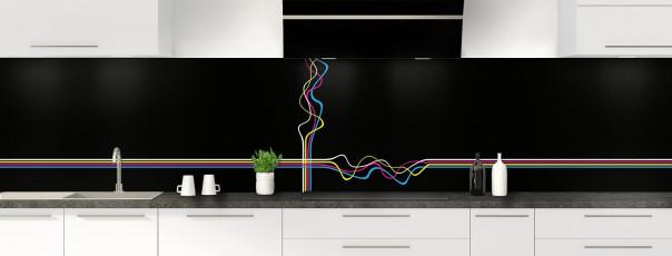 Crédence de cuisine Light painting couleur noir panoramique