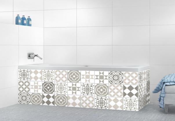 Panneau tablier de bain Carreaux de ciment belle époque Taupe