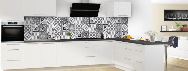 Crédence de cuisine Carreaux de ciment contemporain  Noir et Blanc panoramique en perspective