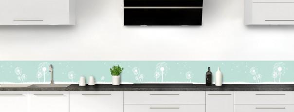 Crédence de cuisine Pissenlit au vent couleur vert pastel dosseret motif inversé