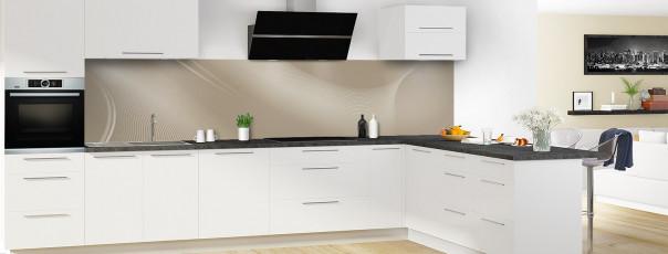 Crédence de cuisine Volute couleur marron glacé panoramique motif inversé en perspective